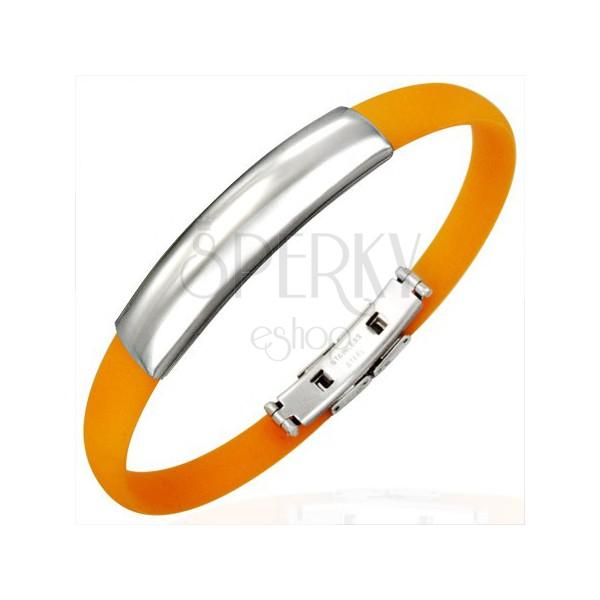 Gummi Armband in Orange - glattes silbernes Rechteck