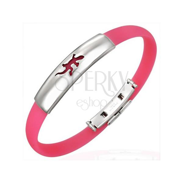 Kautschuk Armband - Platte mit Eidechse, rosa Ausführung
