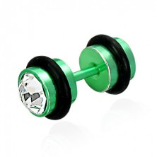 Falsches Piercing in grüner Farbe - geschliffene klare Zirkone, schwarze Gummiringe