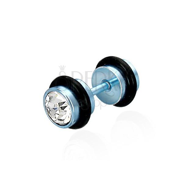 Falsches Piercing in blauer Farbausführung - klare geschliffene Zirkone, schwarze Gummiringe