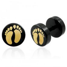 Falsches Piercing in schwarzer Farbe mit zwei Füßen - Paar
