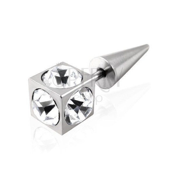 Unechtes Ohr Piercing - Würfel mit klaren Zirkonia