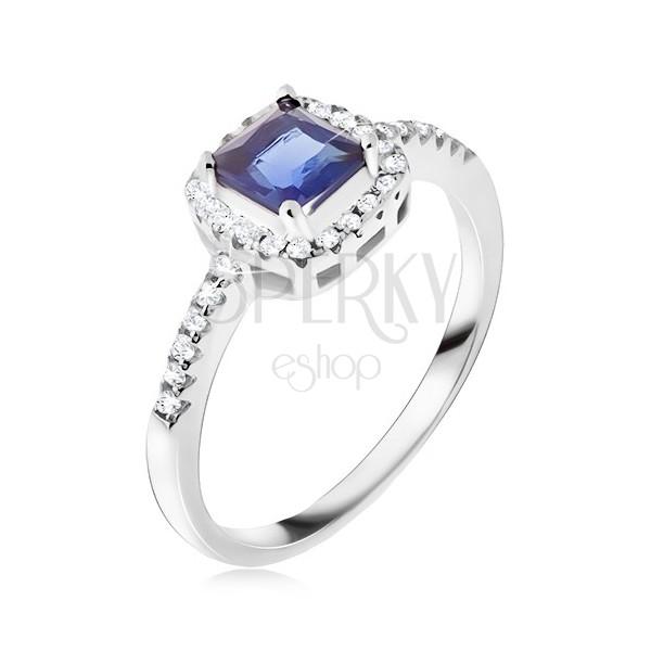 sterling silber ring 925 blauer viereckiger stein zirkonia rand schmuck eshop de. Black Bedroom Furniture Sets. Home Design Ideas