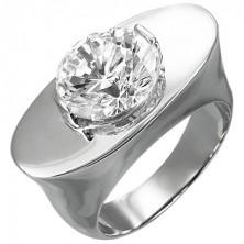 Massiver Ring aus Edelstahl - Oval mit Schmuckstein