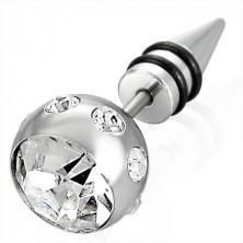 Falsches Piercing in silberner Farbe - große Kugel mit Zirkon, Spitze mit zwei schwarzen Gummiringen