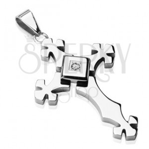 Silberfarbener Edelstahlanhänger - Kreuz mit Zirkonia in Quadrat