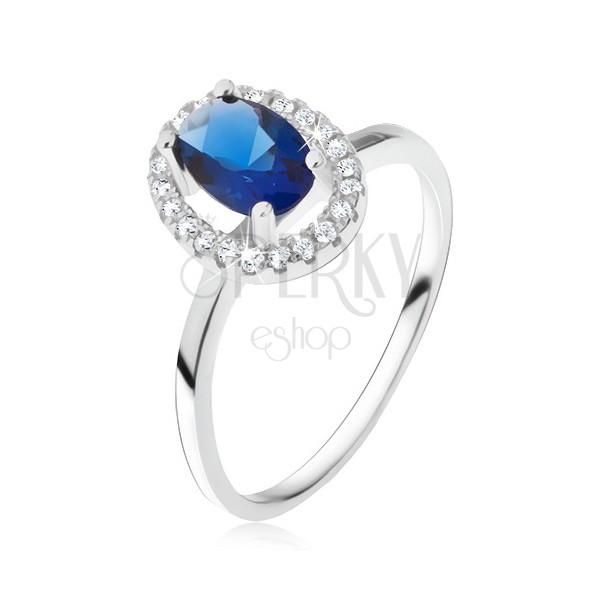 ring aus silber 925 ovalf rmiger blauer stein mit zirkonia umrandung schmuck eshop de. Black Bedroom Furniture Sets. Home Design Ideas