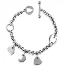 Charm Armkette aus Stahl - Herz und Halbmonde