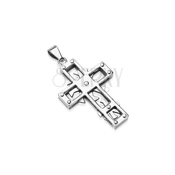Edelstahlanhänger - Kreuz mit Zahnrädern
