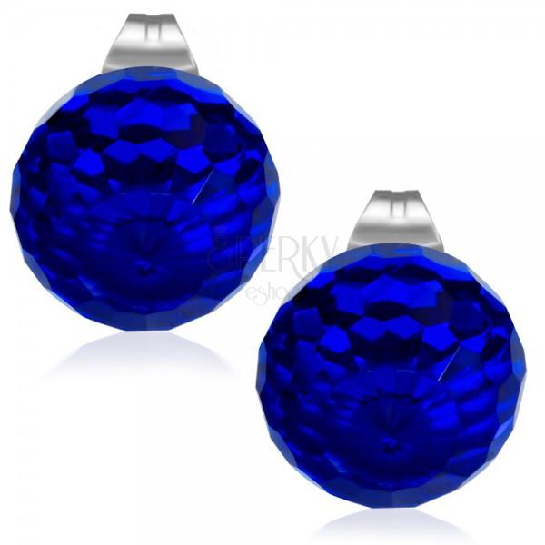 Stahlohrringe dunkelblaue geschliffene kugel aus glas for Gartenschmuck aus glas