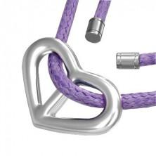 Herzanhänger mit lila Halskette