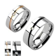 Hochzeitsring aus Stahl, goldene oder schwarze Einlage, Zirkonia