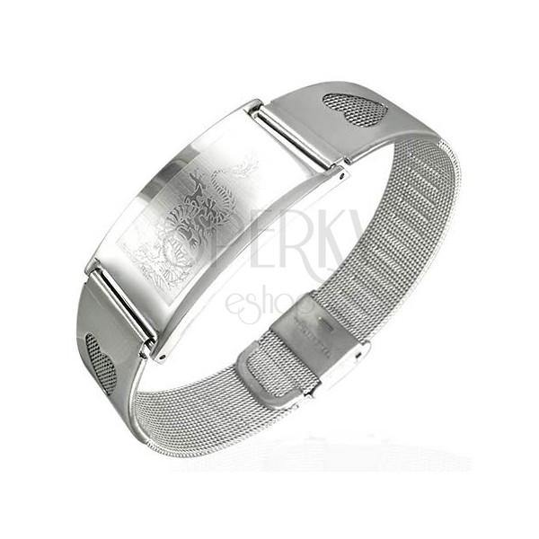 Armband aus Stahl in Netzoptik mit Herzchen und Drachen