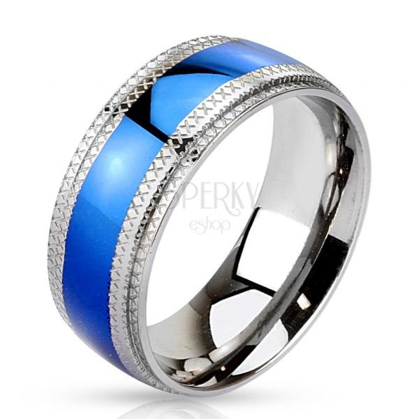 Stahl Ring - blauer Streifen in der Mitte, gekerbte Kanten
