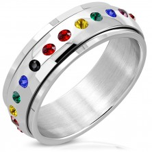 Glänzender Stahl Ring - drehbare Mitte, Zirkone in Regenbogenfarben