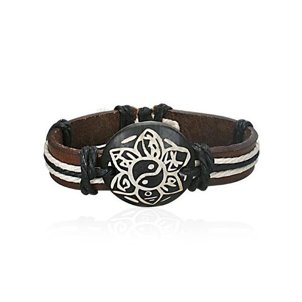 Armband aus dunkelbraunem Leder - Blume Jin Jang