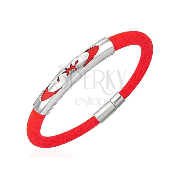 Rundes Gummi Armband in Rot - Eidechse in Ellipse