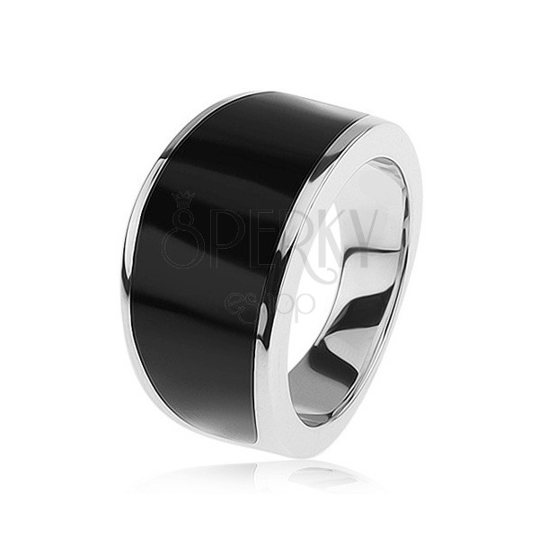 silberring 925 schwarzer emaillierter streifen glatt. Black Bedroom Furniture Sets. Home Design Ideas