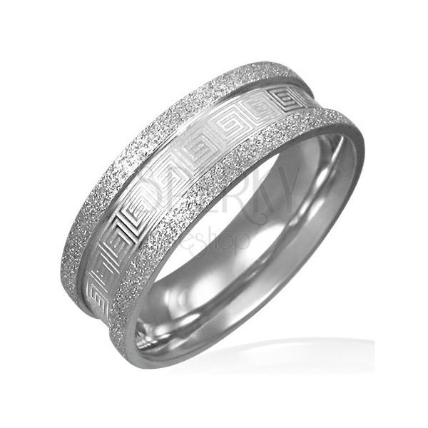 Ring aus Edelstahl mit griechischem Schlüssel, Kanten in Sandoptik