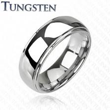 Glänzender Ring aus Wolfram mit erhöhter Mitte
