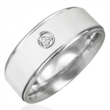 Ring aus Chirurgenstahl mit Zirkonia - Satinglanz