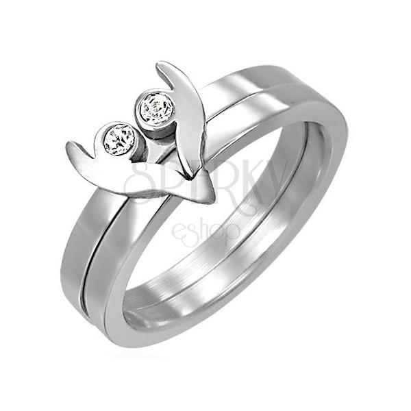 Zweiteiliger Ring aus Stahl - Herz mit funkelnden Zirkonia