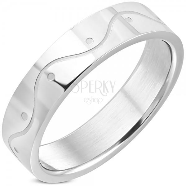 Edelstahl Ring in silberner Farbe – eine Welle, 6 mm