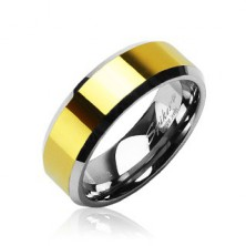 Trauring aus Wolfram / Tungsten mit goldener Einlage