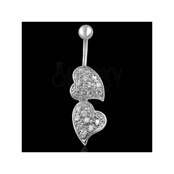 Belly button ring - zwei Herzen