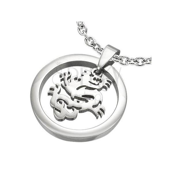 Silberner Anhänger - Kreis mit chinesischem Drachen