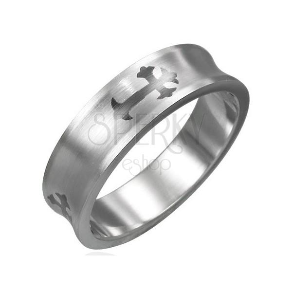 Nach innen gewölbter Ring aus Chirurgenstahl mit Kreuz
