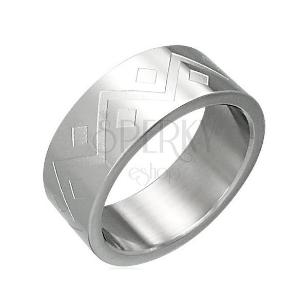 Ring aus Chirurgenstahl mit geometrischem Muster