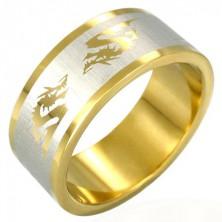 Edelstahlring mit chinesischem Drachen, vergoldet