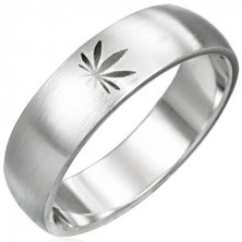 Silberner Marihuana Ring aus Chirurgenstahl