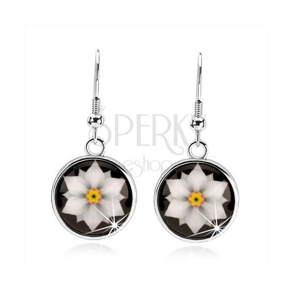 Cabochon Ohrringe, Kreis mit Glasur, weiße Blume auf schwarzem ...