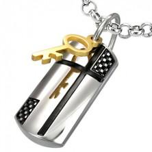 Anhänger aus Edelstahl - magischer Schlüssel und Kreuz