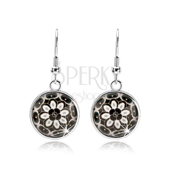 Runde Ohrringe, gewölbte Emaille, schwarz-weiße Blume, Ovale ...