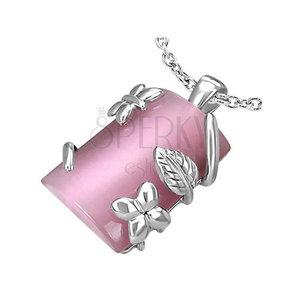 Rechteckiger Edelstahlanhänger mit Blume und Blättern