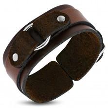 Brauner Lederarmband, zwei Stufen mit einem Ring