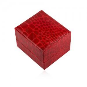 Glanzende Geschenkschachtel Fur Ring Rote Farbe Krokodilenmuster