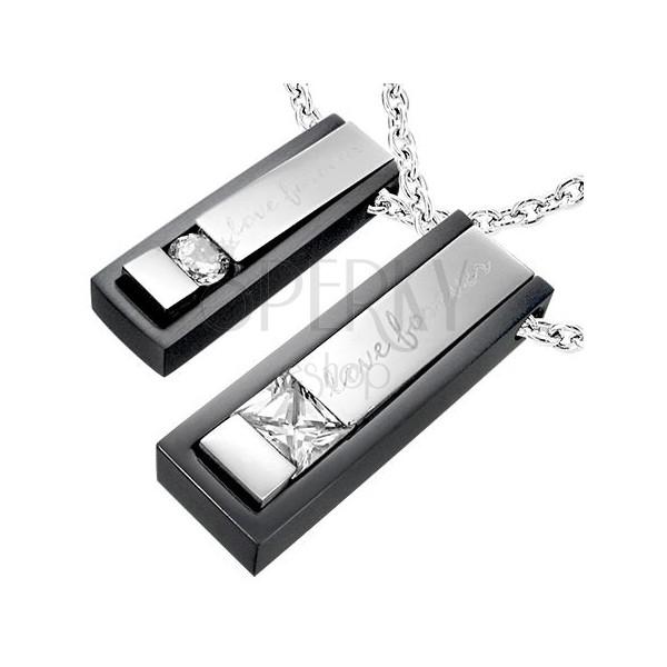 Doppelanhänger aus Edelstahl - Love forever Platten in Silber & Schwarz