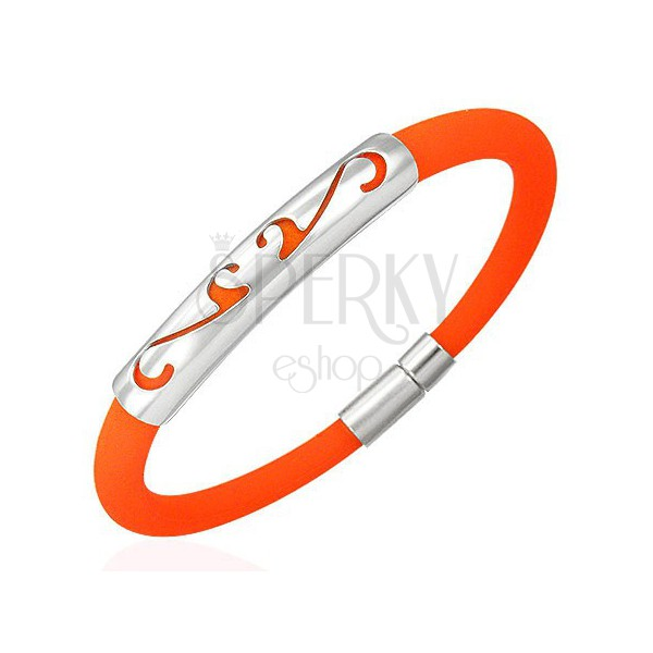 Armband aus Gummi mit Ornament - rund, orange Farbe