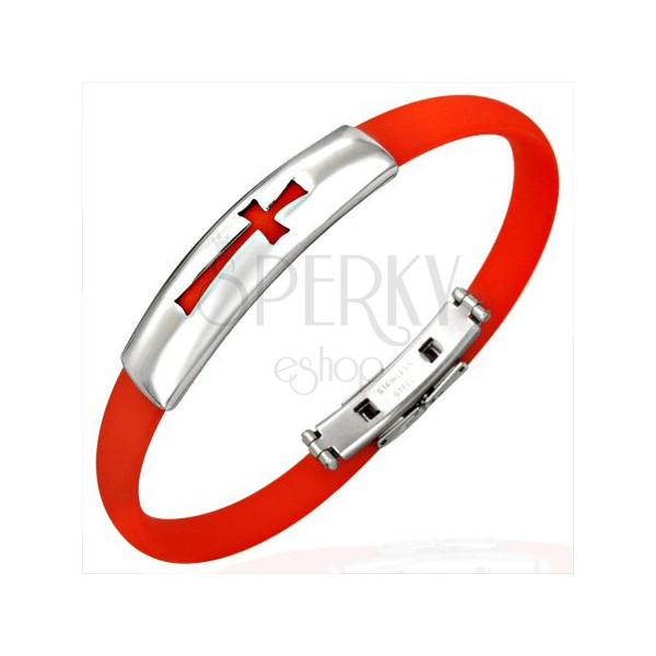 flaches armband aus gummi rot mit kreuz schmuck eshop de. Black Bedroom Furniture Sets. Home Design Ideas