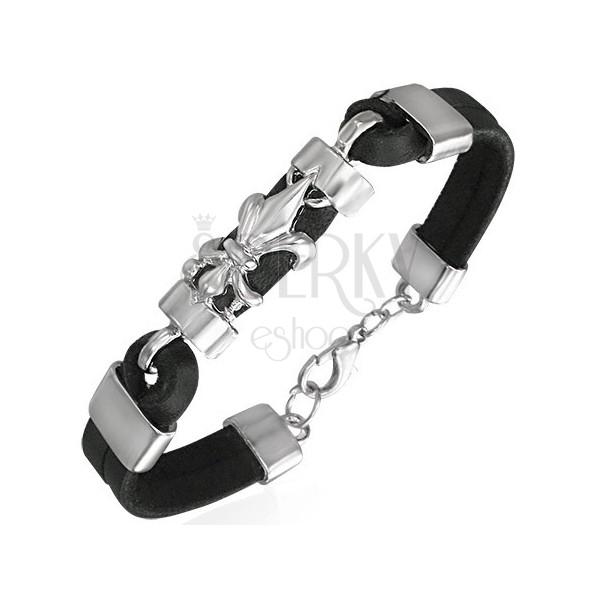 Armband aus schwarzem Leder kombiniert - Fleur de Lis Optik