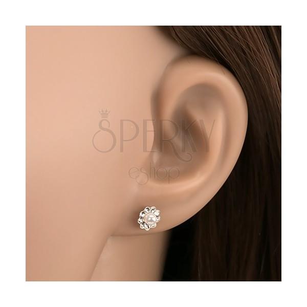 Ohrstecker, 925 Silber, Blume - Preciosa Kristalle und weiße Perle ...