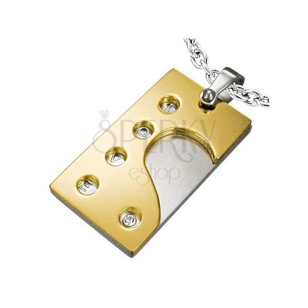 Kettenanhänger Platte aus Stahl - Herzhälfte, Aufschrift LOVE