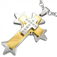 Anhänger aus Edelstahl - zweifarbiges Kreuz mit Stacheln
