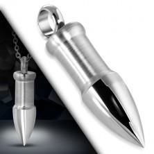 Stahl Anhänger in silberner Farbe - Patrone mit glänzender spitzer Spitze