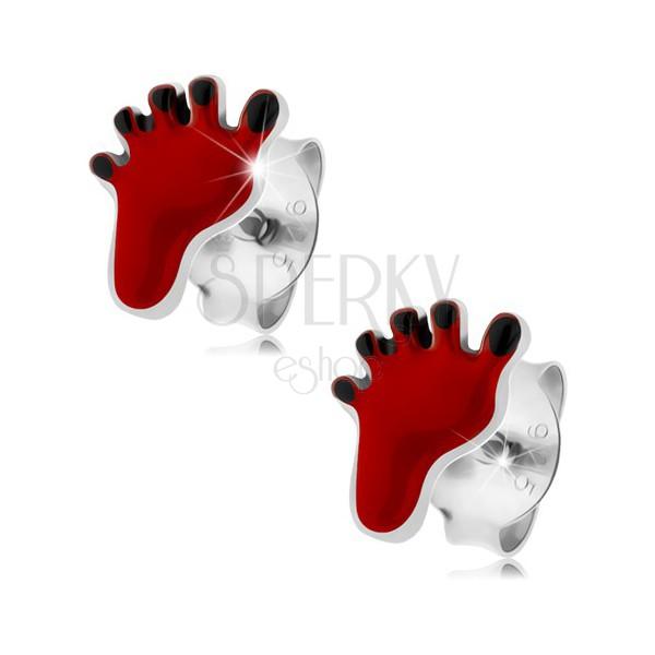 Ohrstecker, 925 Silber, roter Fußabdruck, schwarze Zehe | Schmuck ...