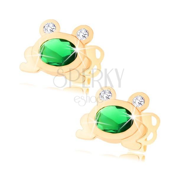 goldene 585 ohrstecker kleiner gl nzender frosch mit gr nem oval und klaren augen schmuck. Black Bedroom Furniture Sets. Home Design Ideas
